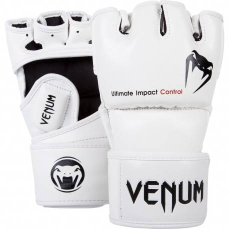 Gants MMA Venum Impact - Skintex Leather - Blanc